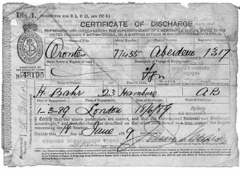 Charles Bahr's discharge certificate from the Orontes in 1889