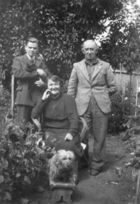 Bill Nicholson and his host 'aunty' and 'uncle'