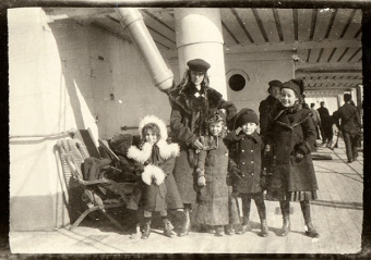 Children on board boat to Australia. c.1910