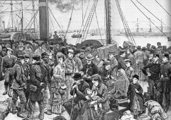 Emigrants leaving England