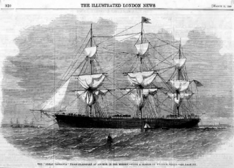 The 'Great Tasmania' troop transport at anchor in the Mersey, 1855