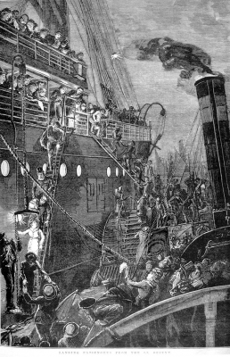 Landing passengers from SS Orient in 1880. Illustrated Australian News