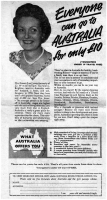 Advertisment for £10 passage to Australia