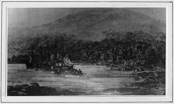 Landing at Sullivans Cove by Governor David Collins, Feb 29 1804. Small vessel is 'Lady Nelson', large vessel is the ship 'Ocean'.